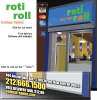 Roti Roll Bombay Frankie - New York Roti Roll Bombay Frankie - New York, Roti Roll Bombay Frankie - New York, 994 Amsterdam Ave, New York, NY, , Indian restaurant, Restaurant - Indian, tandoori, masala, chickpea curry, chaat, , restaurant, burger, noodle, Chinese, sushi, steak, coffee, espresso, latte, cuppa, flat white, pizza, sauce, tomato, fries, sandwich, chicken, fried